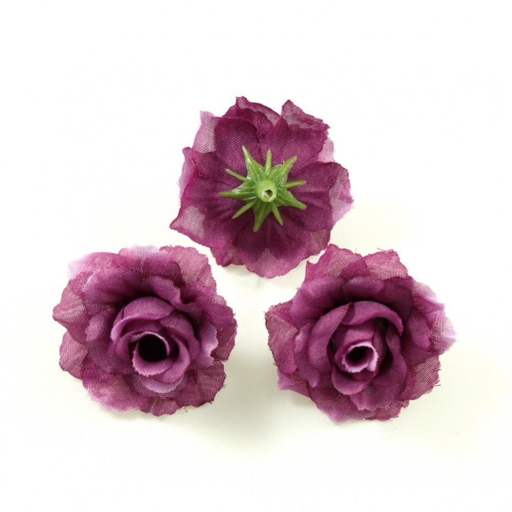 lot de 10 fleurs synth tique diam tre 4cm prune. Black Bedroom Furniture Sets. Home Design Ideas